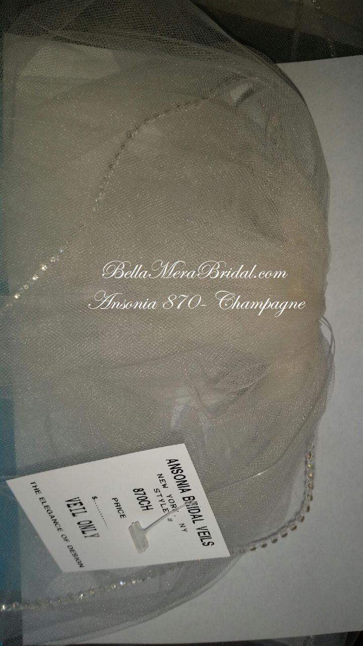 Ansonia Bridal Veil Style 870 - Rhinestone Fingertip Veil - Champagne Color