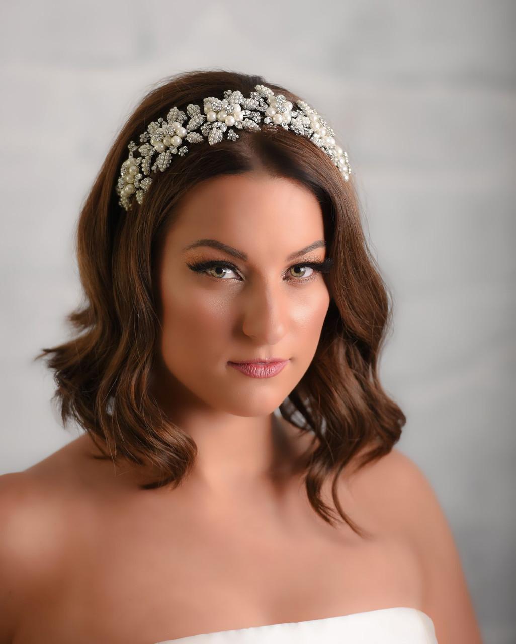 Maritza Bridal Headpiece 1029 - Pearl Headpiece With An Elastic