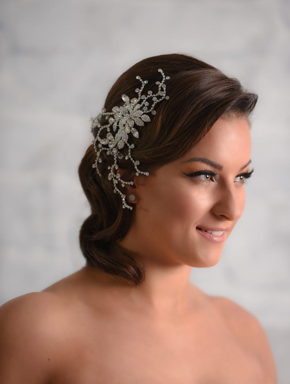 Maritza Bridal Headpiece 1040 - Sprayed Crystal Floral Clip
