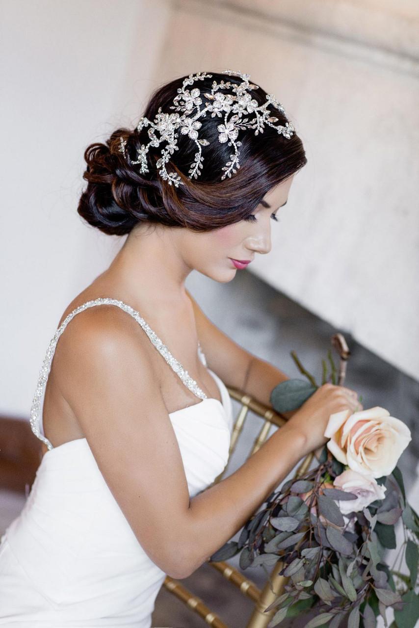 Maritza Bridal Headpiece 1072 - Flexi-Crystal Rhinestone Spray And Floral Design