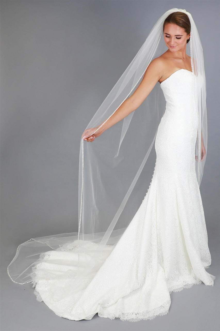 Chapel or Cathedral Wedding Veil Knee Crystal and Clear Bugle Bead Edge Elbow Fingertip Waltz Free Tulle Swatches