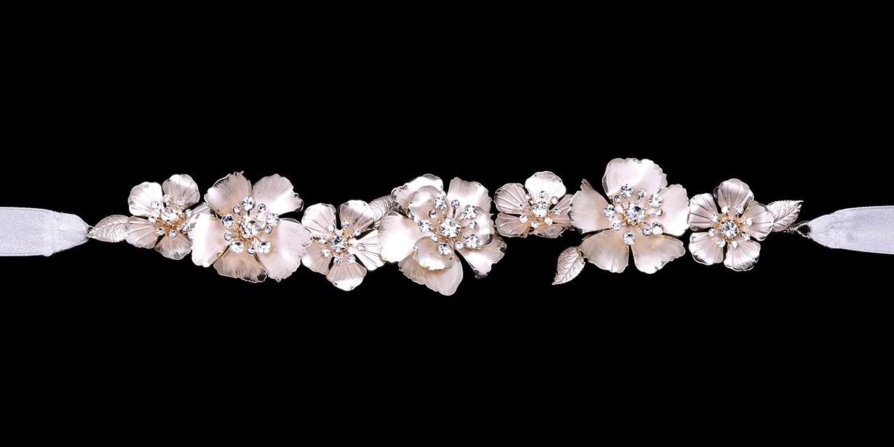 En Vogue Bridal Belt Style BT2181 - Rhodium Belt with satin ribbon ties