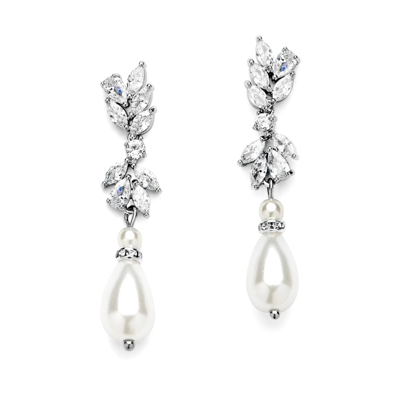 Cubic Zirconia and Teardrop Pearl Designer Bridal Earrings 4646E-I-S