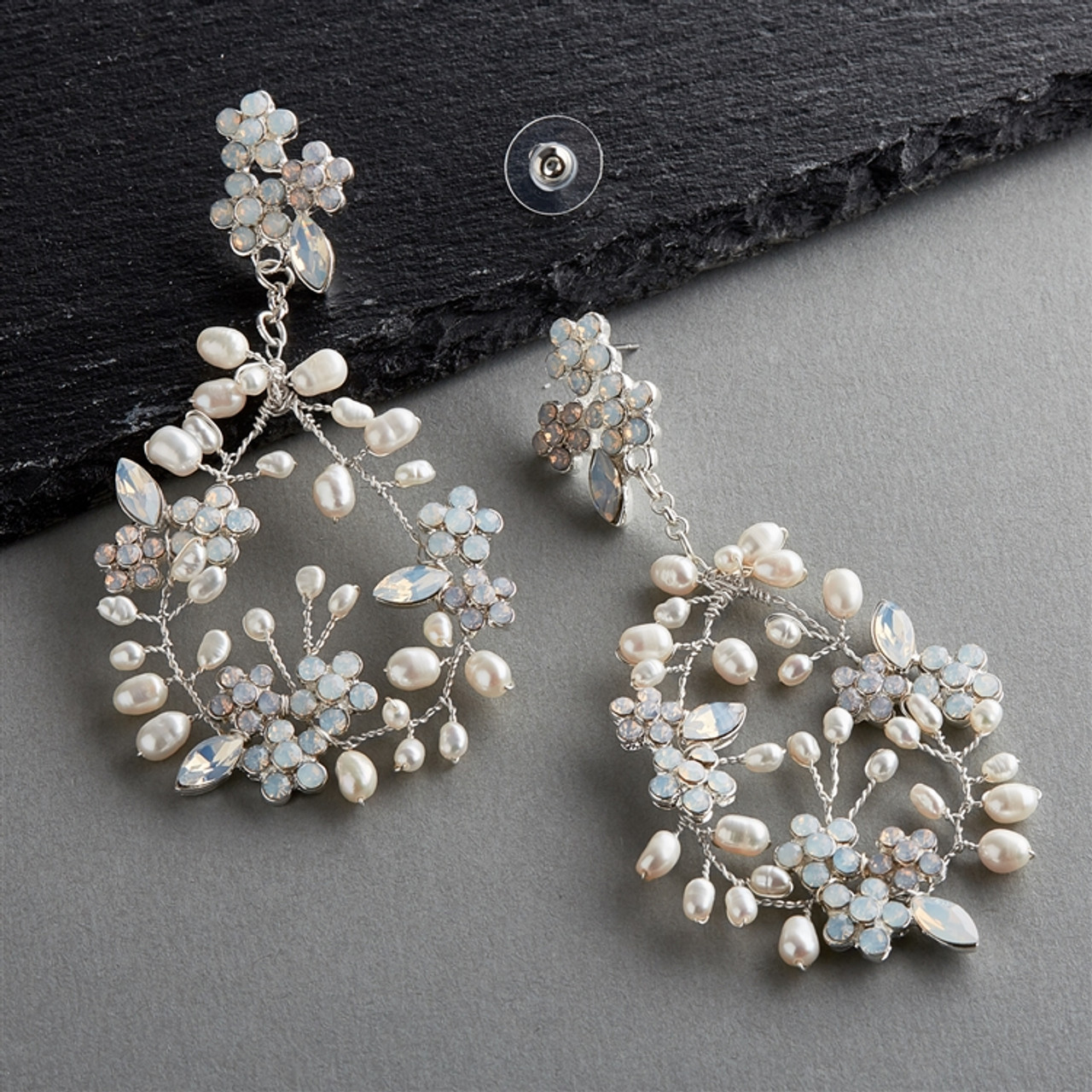 Hand-made Bridal Statement Earrings with Opals and Freshwater Pearls 4640E-OP-I-S