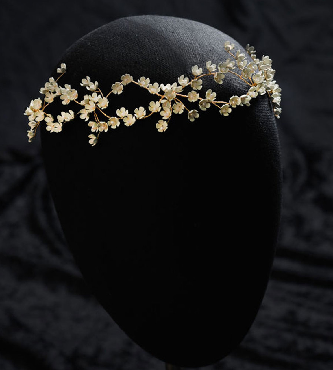 Erica Koesler A-5673 - Gold Garland flowers accented with opal stones