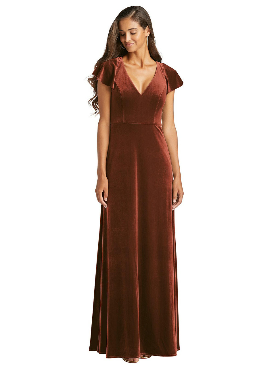 After Six Style 1540 - Flutter Sleeve Velvet Maxi Dress with Pockets - Lux Velvet