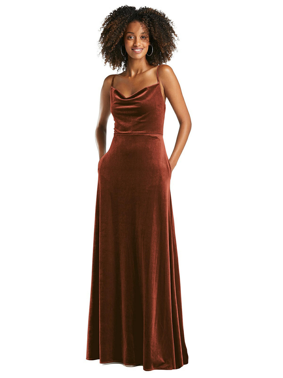 After Six Style 1541 - Cowl-Neck Velvet Maxi Dress with Pockets