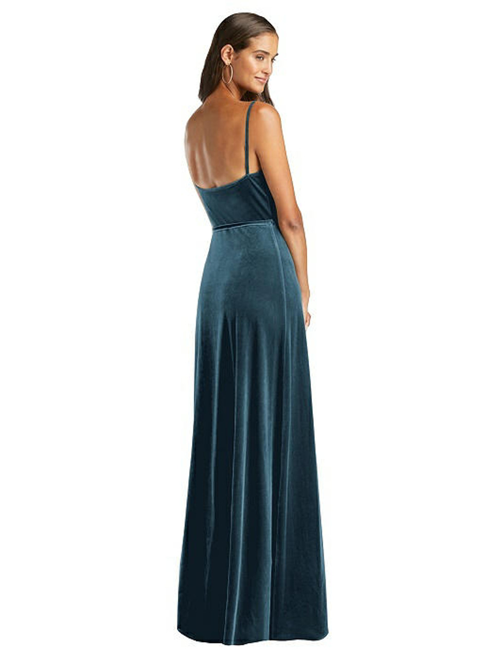 After Six Style 1536 - Velvet Wrap Maxi Dress with Pockets