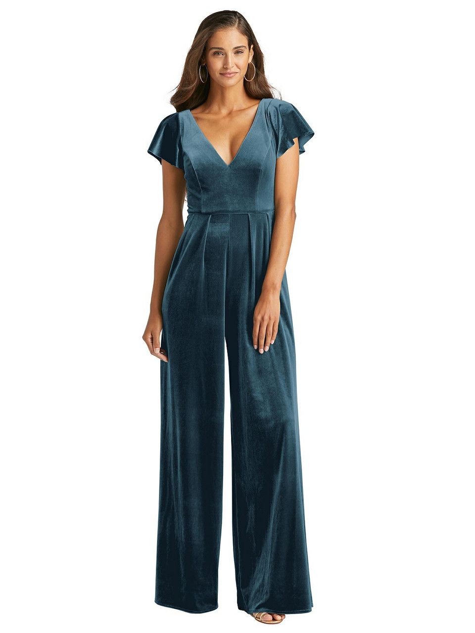 After Six Style 1542 - Flutter Sleeve Velvet Jumpsuit with Pockets