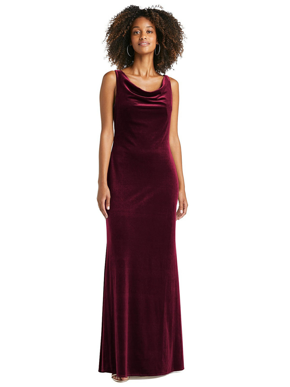 Lovely Style LB017 - Cowl-Neck Velvet Maxi Tank Dress - Priya