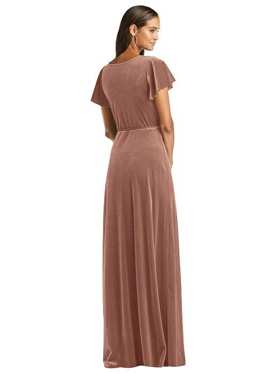 After Six Style 1538 Flutter Sleeve Velvet Wrap Maxi Dress with Pockets