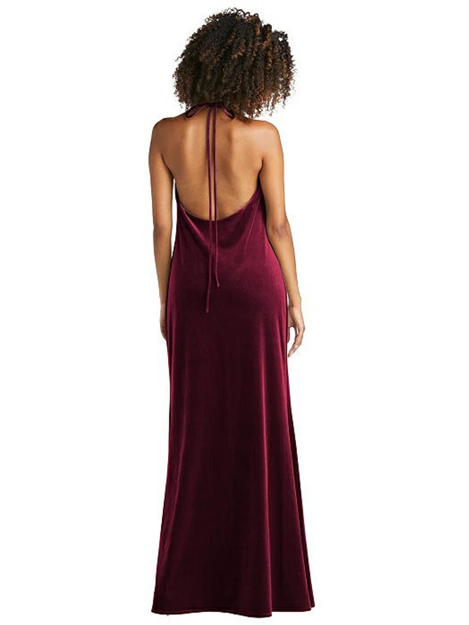 Lovely Style LB019 Cowl-Neck Convertible Velvet Maxi Slip Dress - Sloan