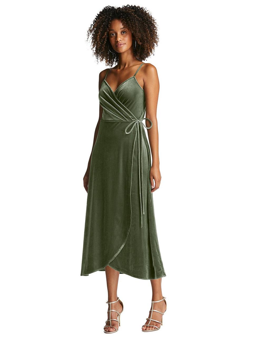 After Six Style 1537 Velvet Midi Wrap Dress with Pockets
