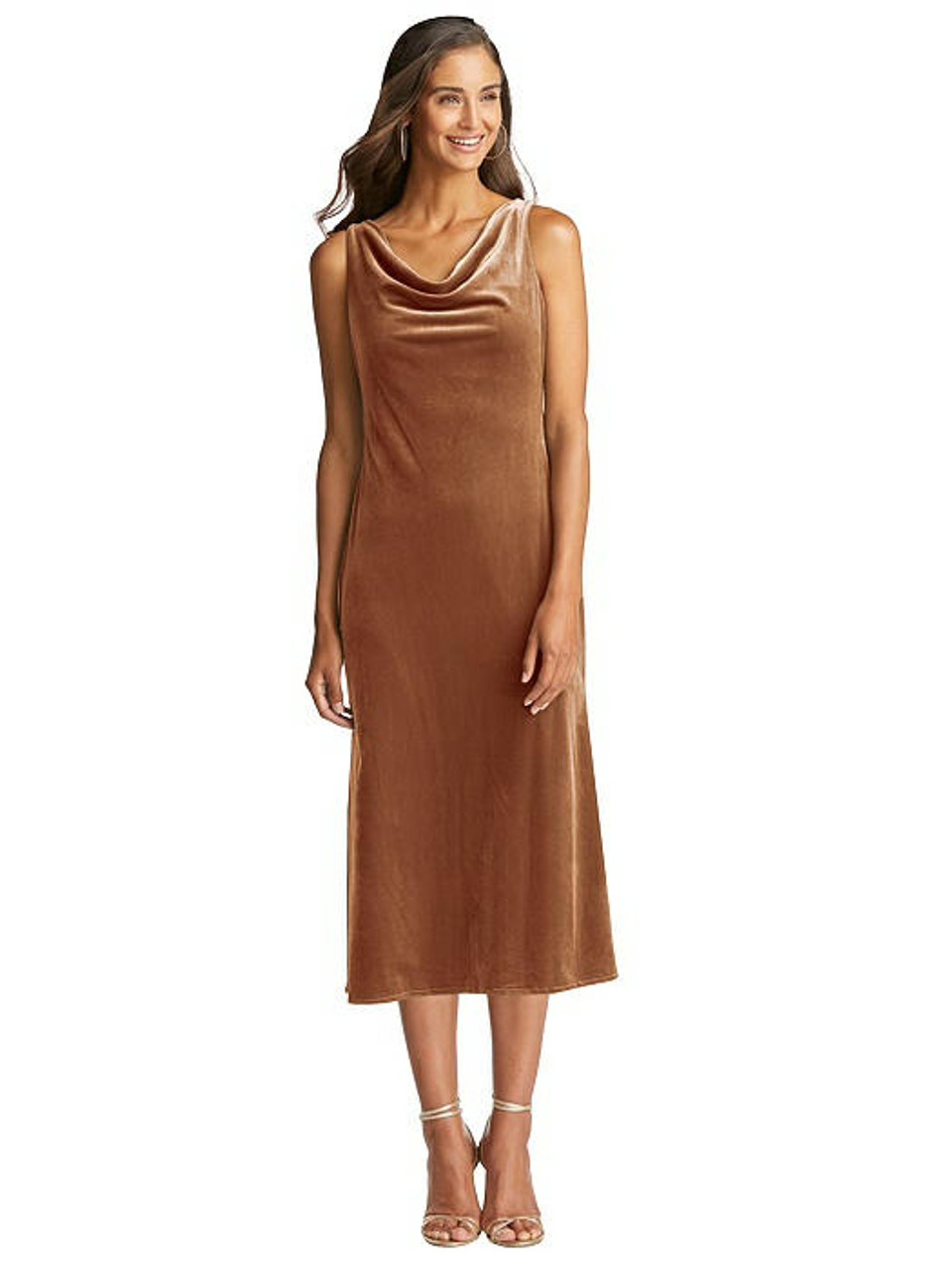 Lovely Style LB018  Cowl-Neck Velvet Midi Tank Dress - Rowan