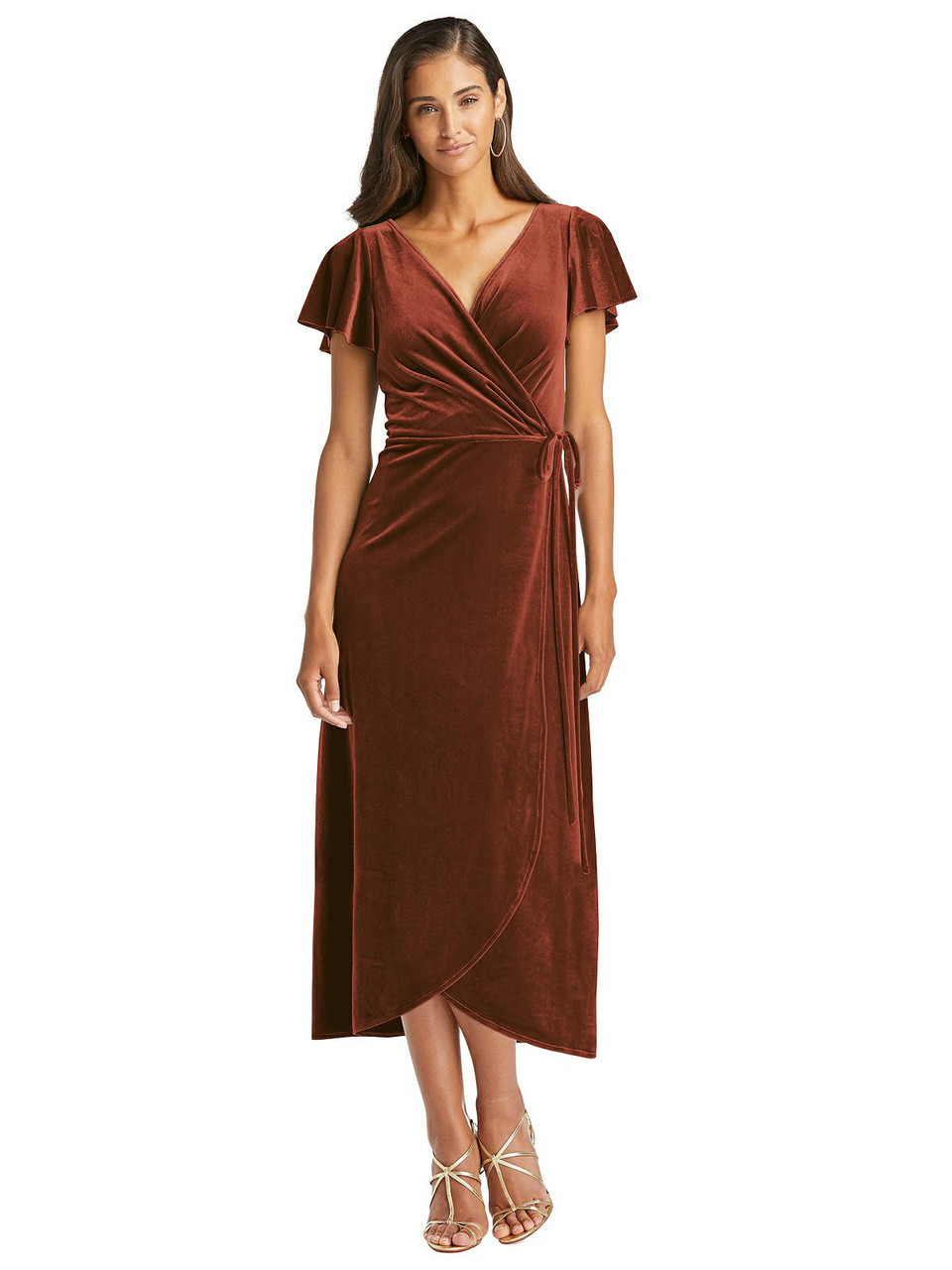 After Six Style 1539 Flutter Sleeve Velvet Midi Wrap Dress with Pockets