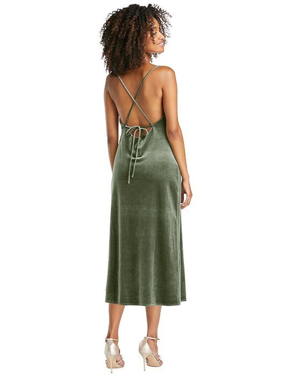 Lovely Style LB020 Cowl-Neck Convertible Velvet Midi Slip Dress - Isa
