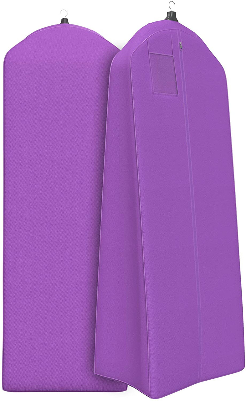 Purple Extra Large & Extra White Fabric Breathable Garment Bag - Store Your Cathedral Veil or Gown