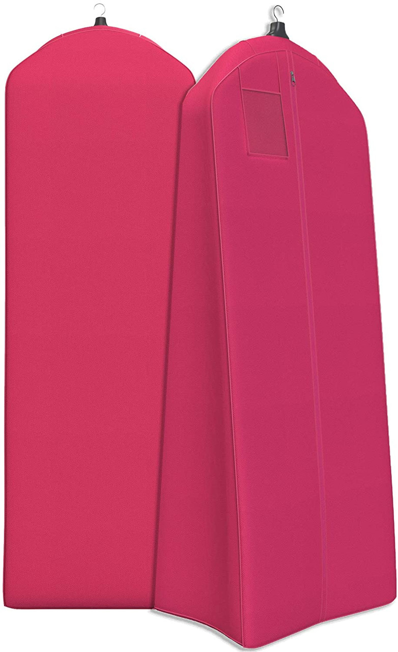 Fuchsia Extra Large & Extra White Fabric Breathable Garment Bag - Store Your Cathedral Veil or Gown