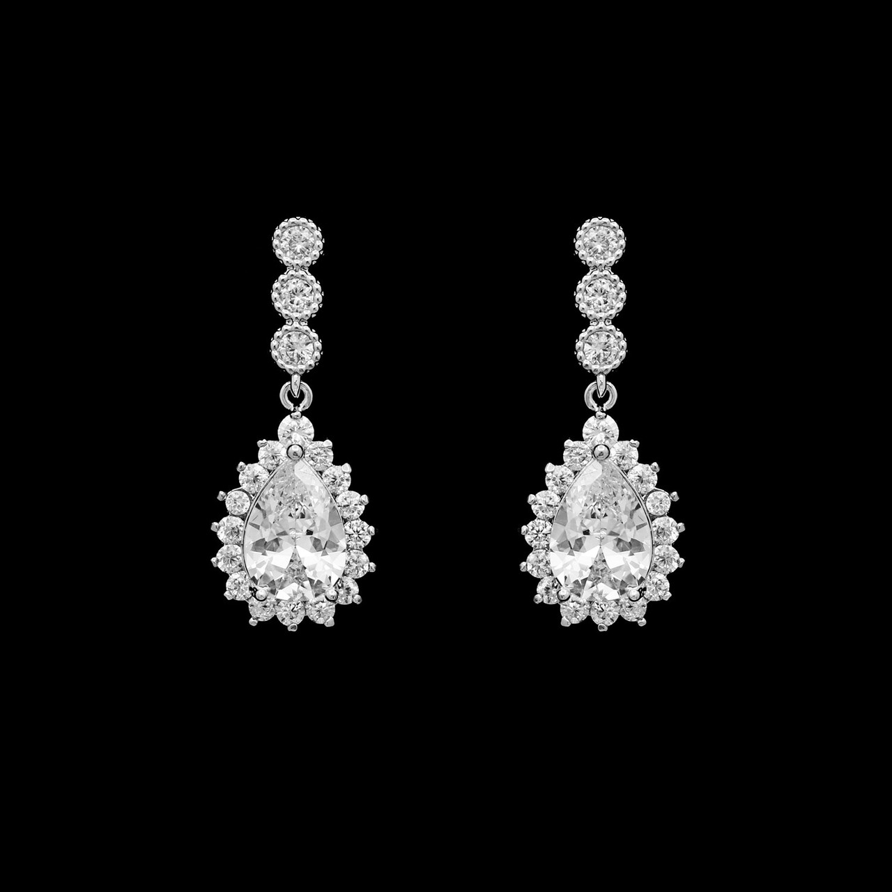 Formal Cubic Zirconia Earrings for Bridesmaids and Brides - #0131