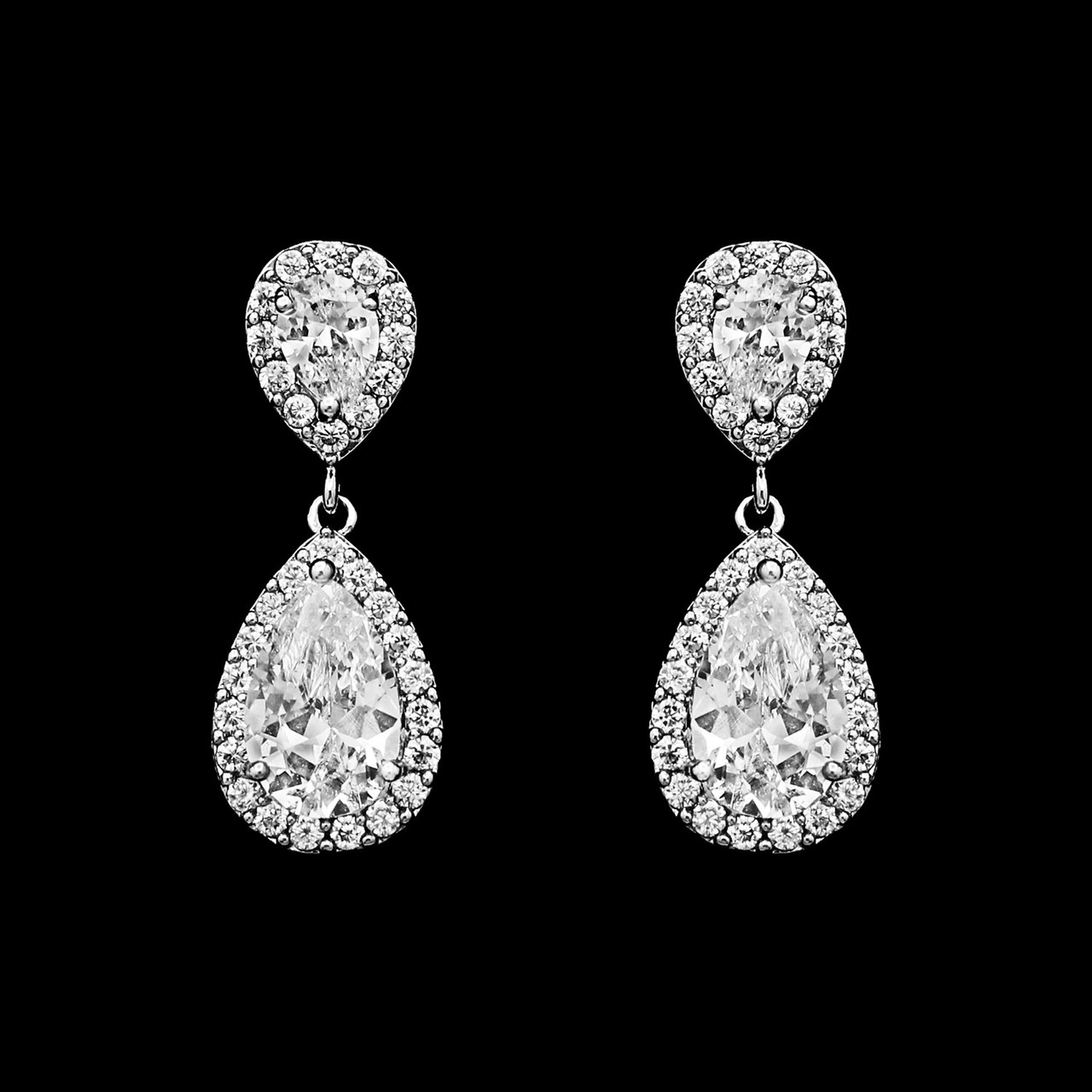 Formal Cubic Zirconia Earrings for Bridesmaids and Brides - #1213
