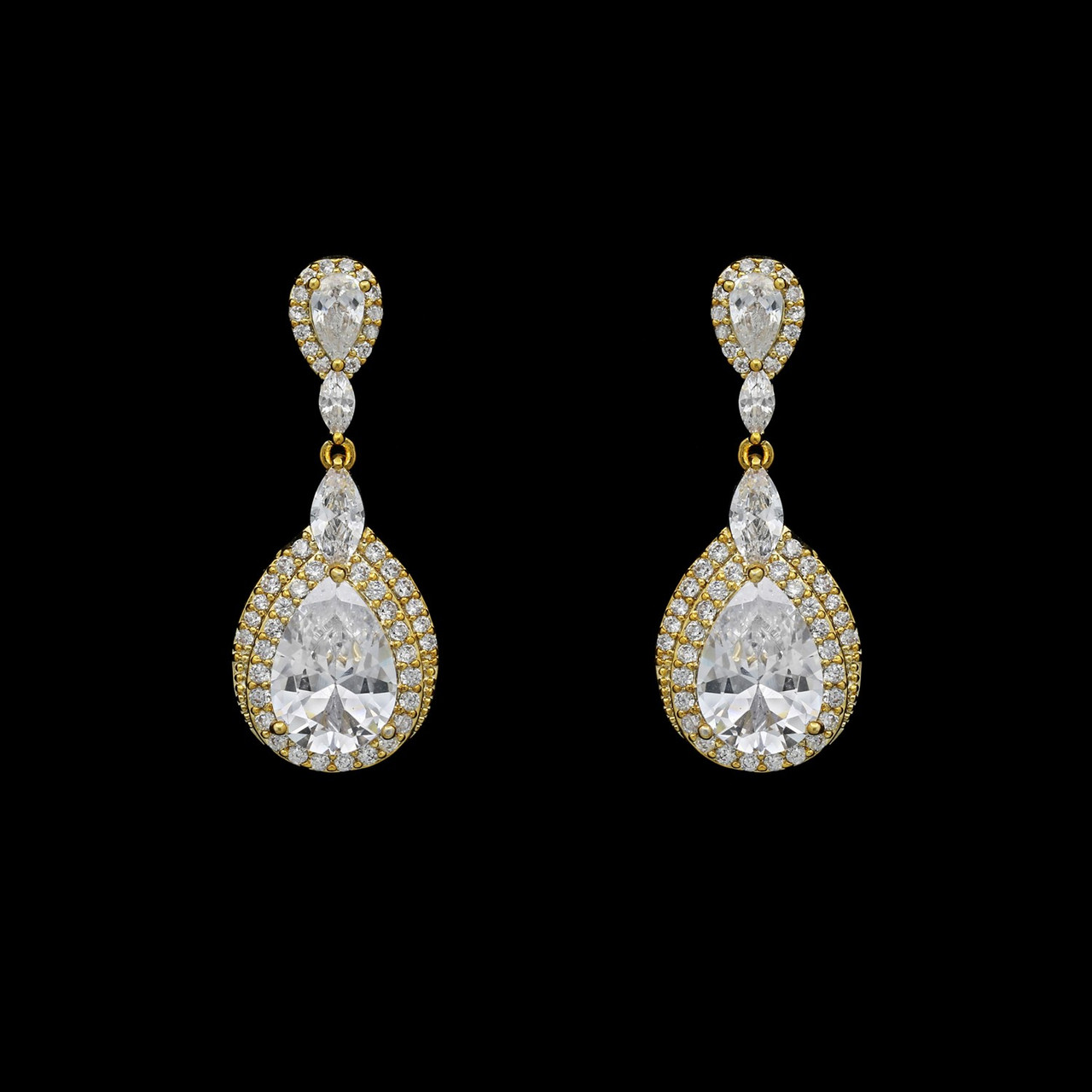Formal Cubic Zirconia Earrings for Bridesmaids and Brides - #5175