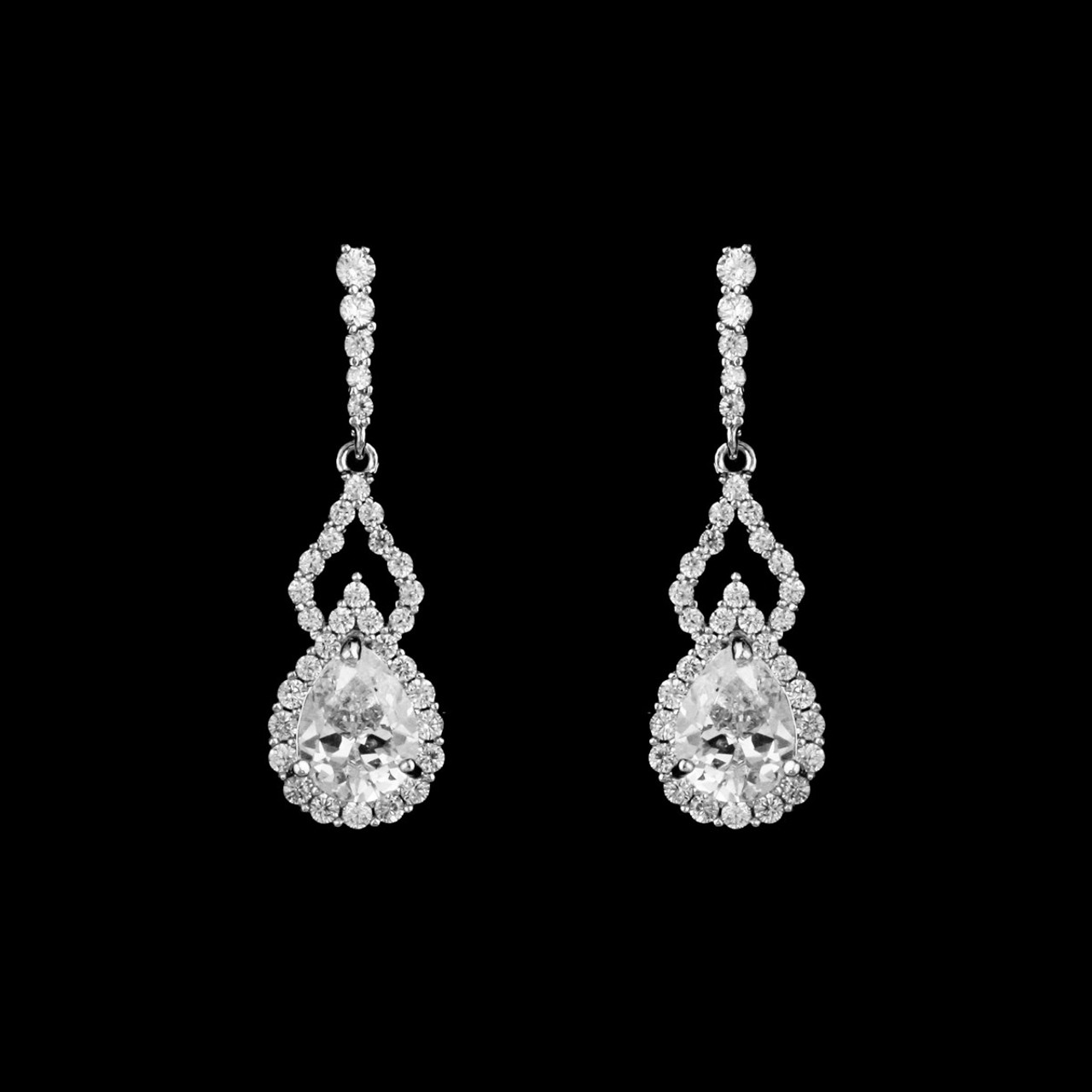 Formal Cubic Zirconia Earrings for Bridesmaids and Brides - #3616