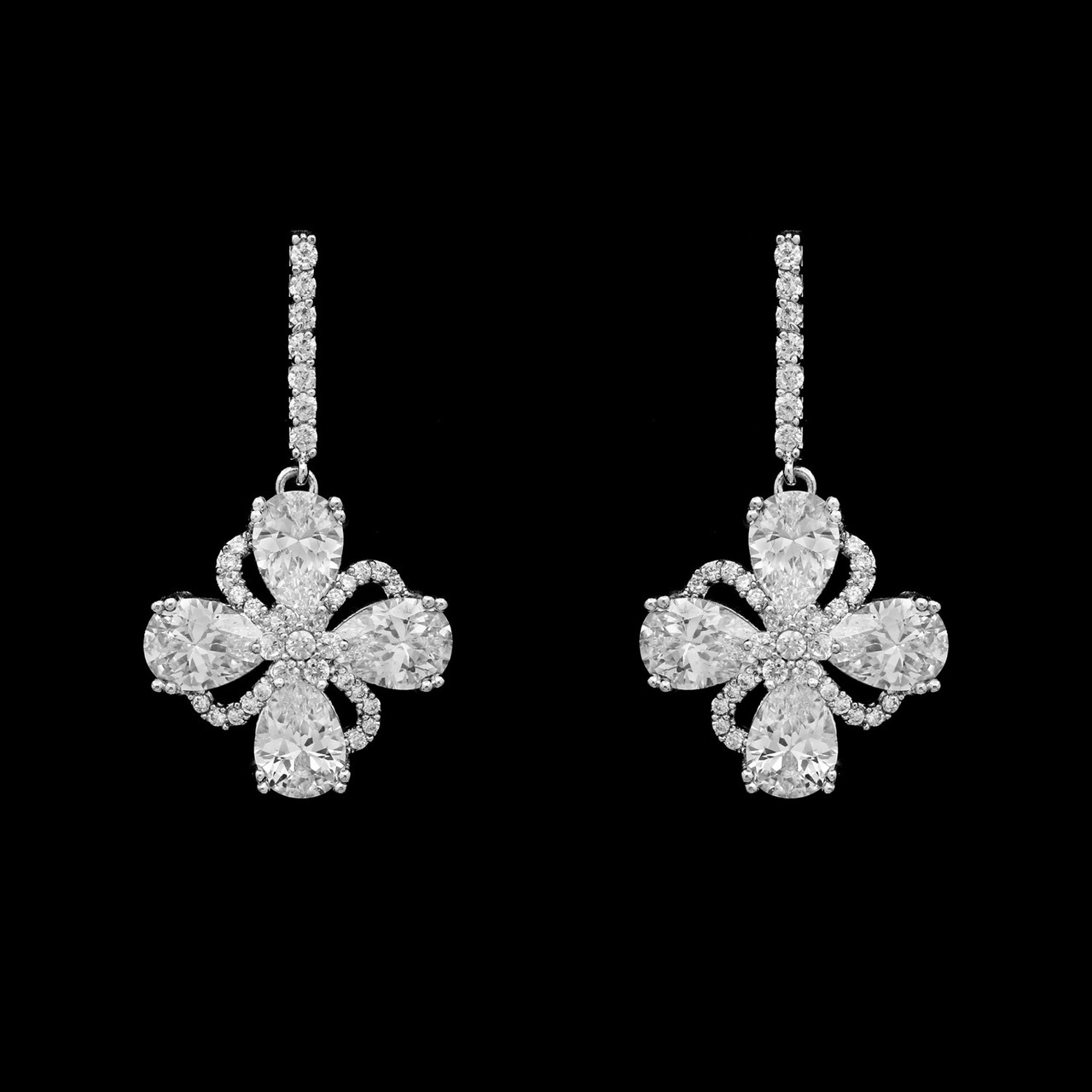 Formal Cubic Zirconia Earrings for Bridesmaids and Brides - #1026