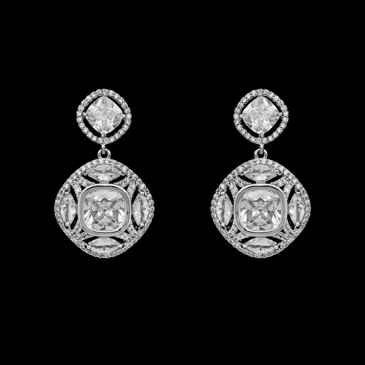 Formal Cubic Zirconia Earrings for Bridesmaids and Brides - #6200