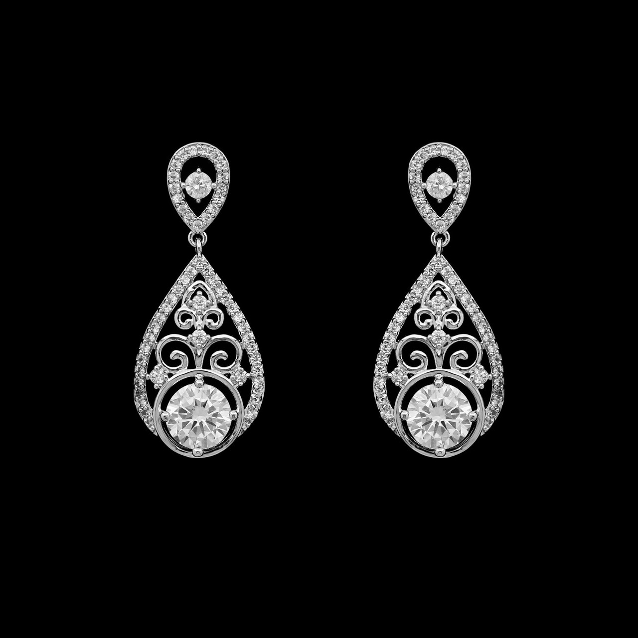 Formal Cubic Zirconia Earrings for Bridesmaids and Brides - #6655