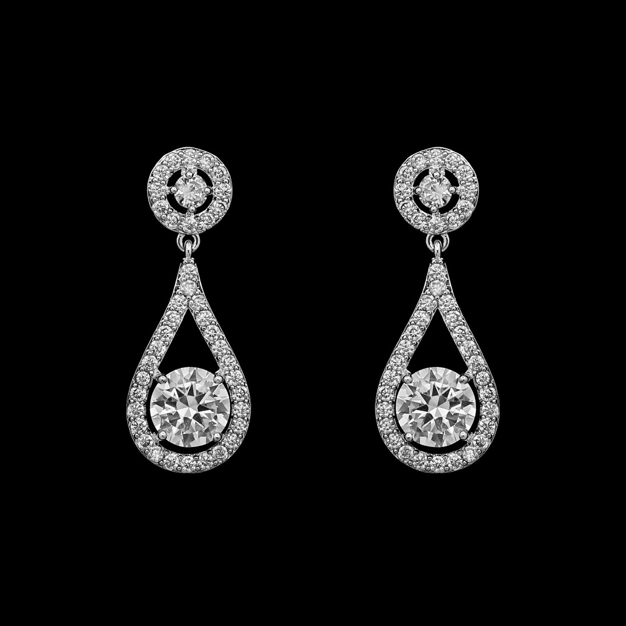 Formal Cubic Zirconia Earrings for Bridesmaids and Brides - #336