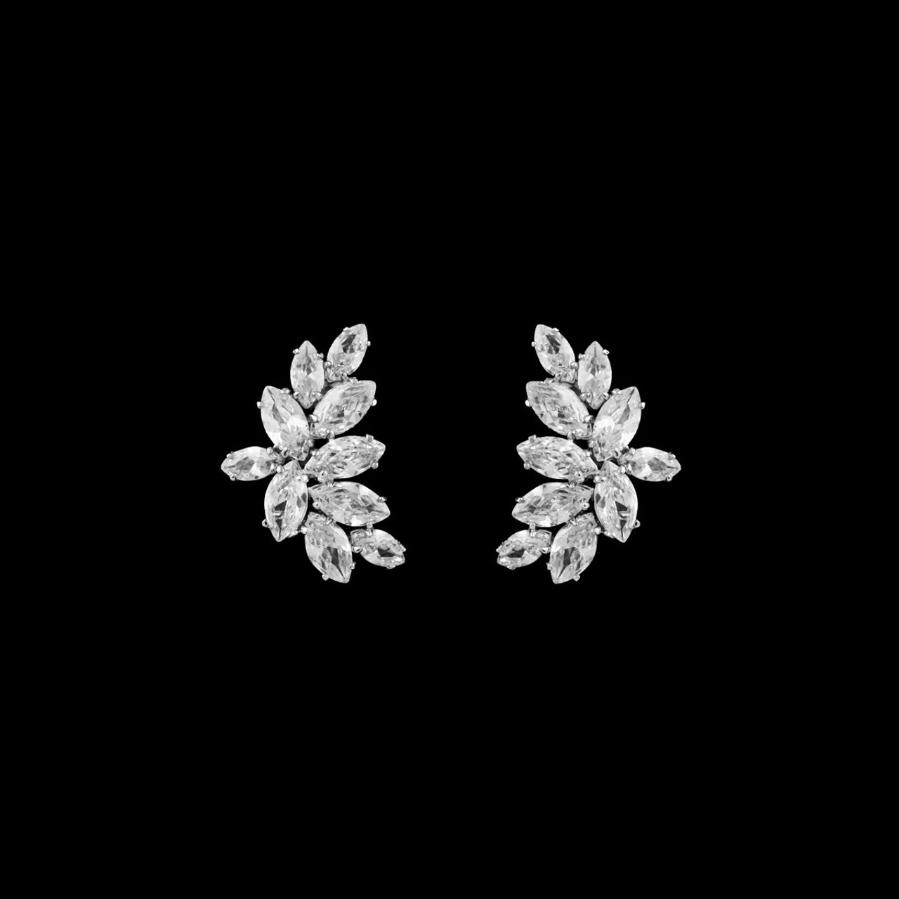 French Clip-on CZ Earrings Earrings for Bridesmaids and Brides - #252