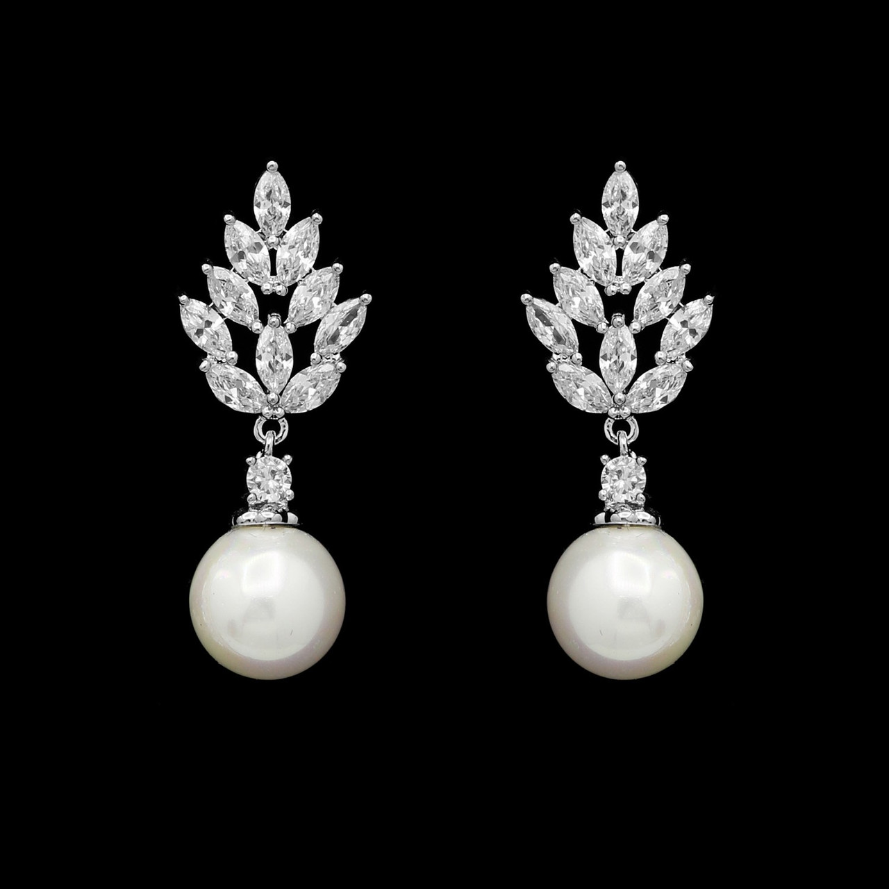 Formal Cubic Zirconia Earrings for Bridesmaids and Brides - #4118