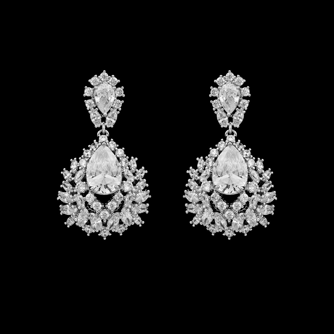Formal Cubic Zirconia Earrings for Bridesmaids and Brides - #6656