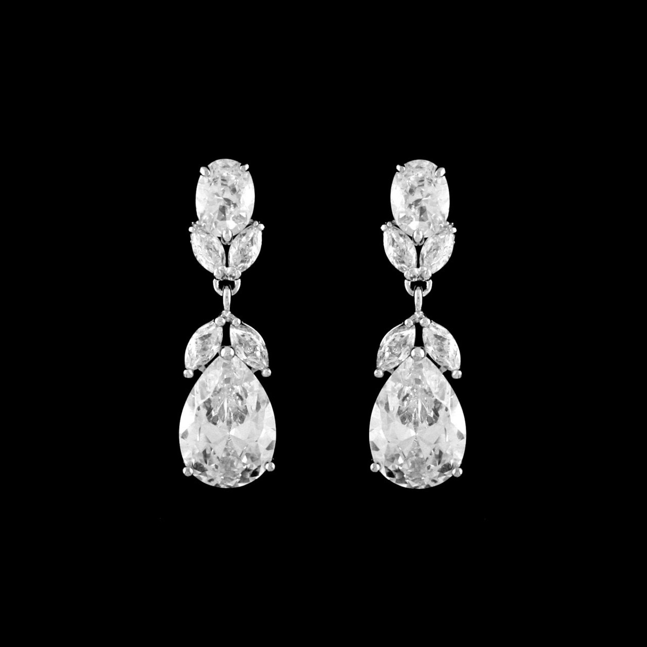 Formal Cubic Zirconia Earrings for Bridesmaids and Brides - #206