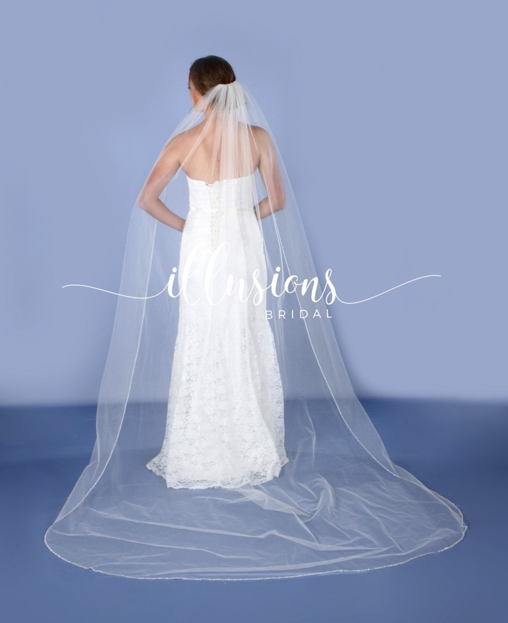 """Illusions Bridal Veil Style Number: V-7087 - 108"""" Frosted Opaque Bugle bead edge"""
