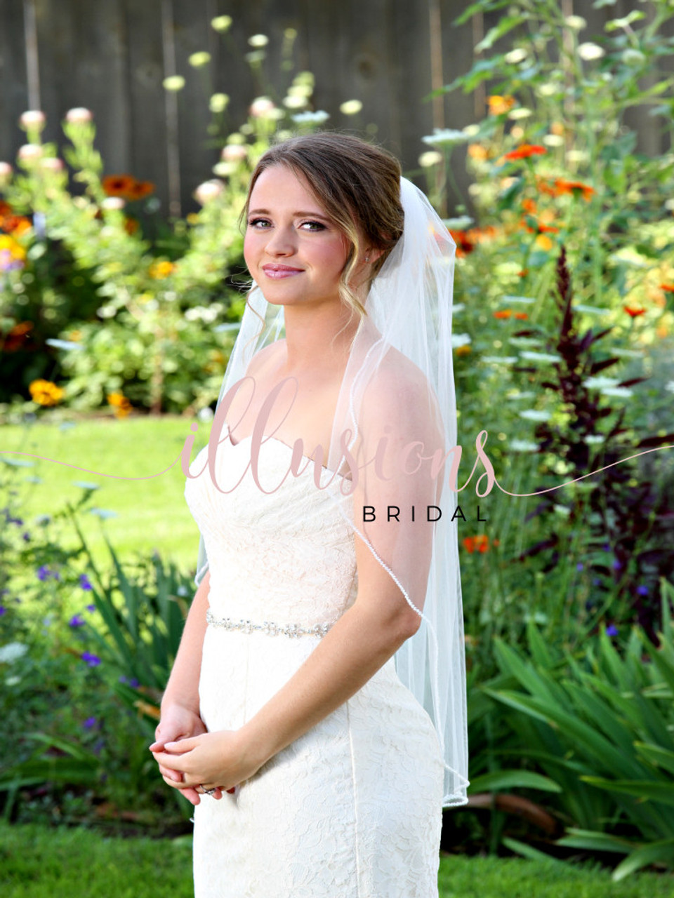 "Illusions Bridal Veil Style Number: V-7087 - 36"" Frosted Opaque Bugle bead edge"