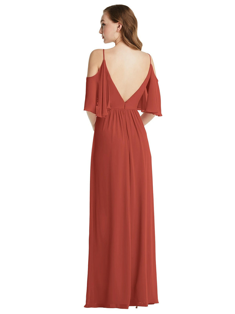 After Six Style 1547  |  Lux Chiffon - Convertible Cold-Shoulder Draped Wrap Maxi Dress