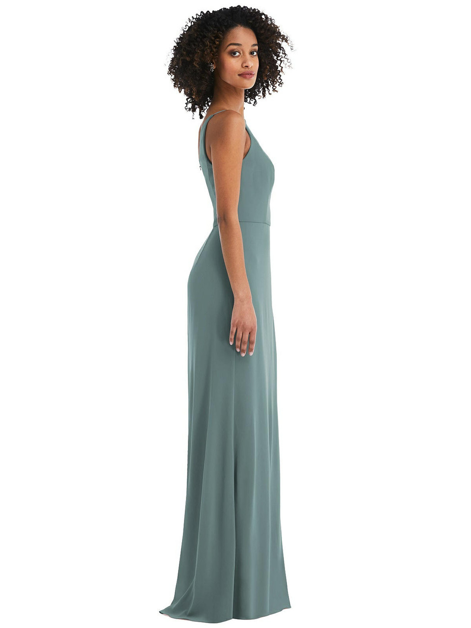 After Six Style 1544  |  Sheer Crepe - Skinny One-Shoulder Trumpet Gown with Front Slit