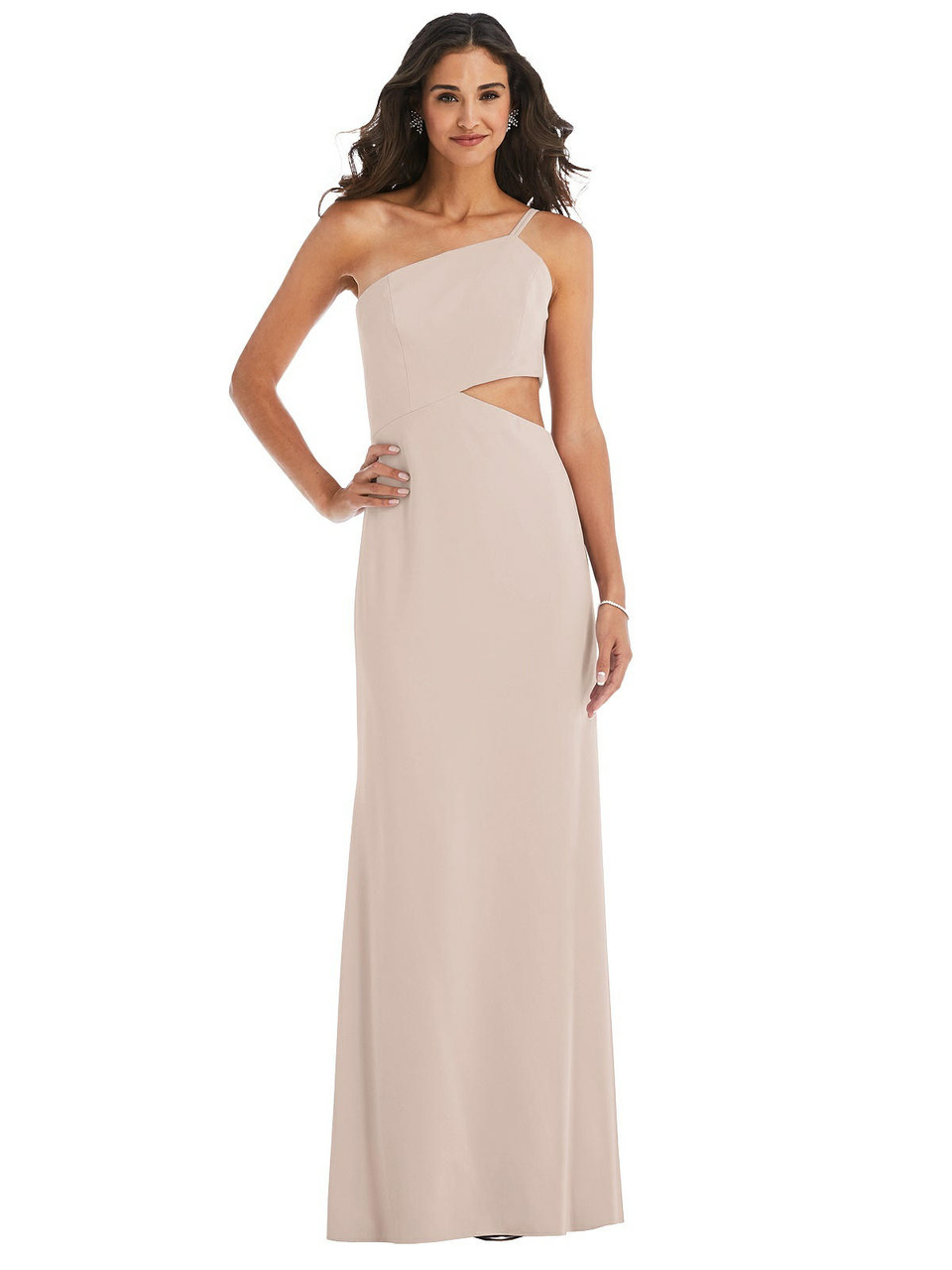 After Six Style 6844  |  Crepe - One-Shoulder Midriff Cutout Maxi Dress