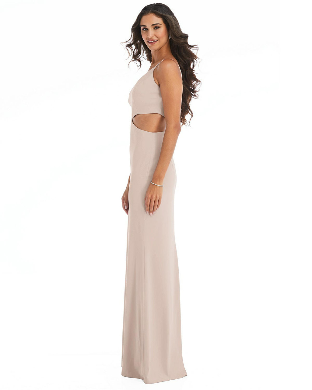 One-Shoulder Midriff Cutout Maxi Dress After Six Style 6844  |  Crepe