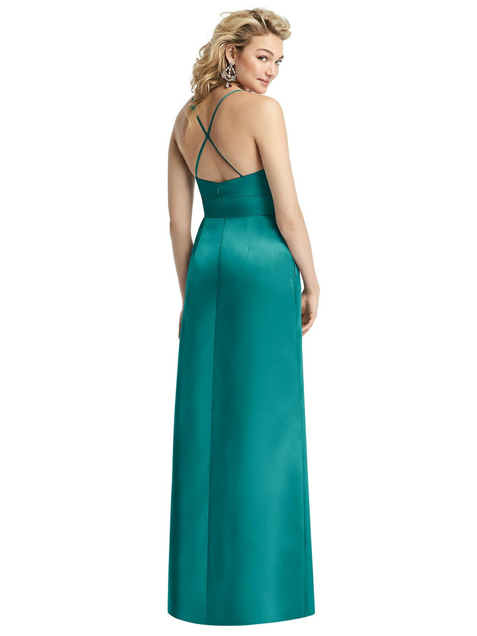 After Six Style 1521     Matte Satin- Pleated Skirt Satin Maxi Dress with Pockets