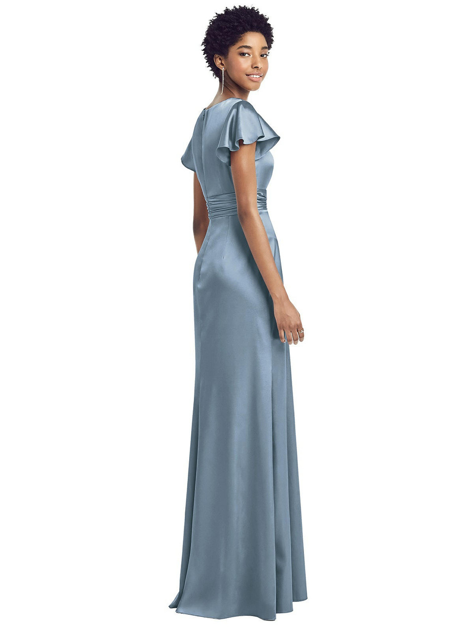 Social Style 8197  |  Stretch Charmeuse - Flutter Sleeve Draped Wrap Stretch Maxi Dress