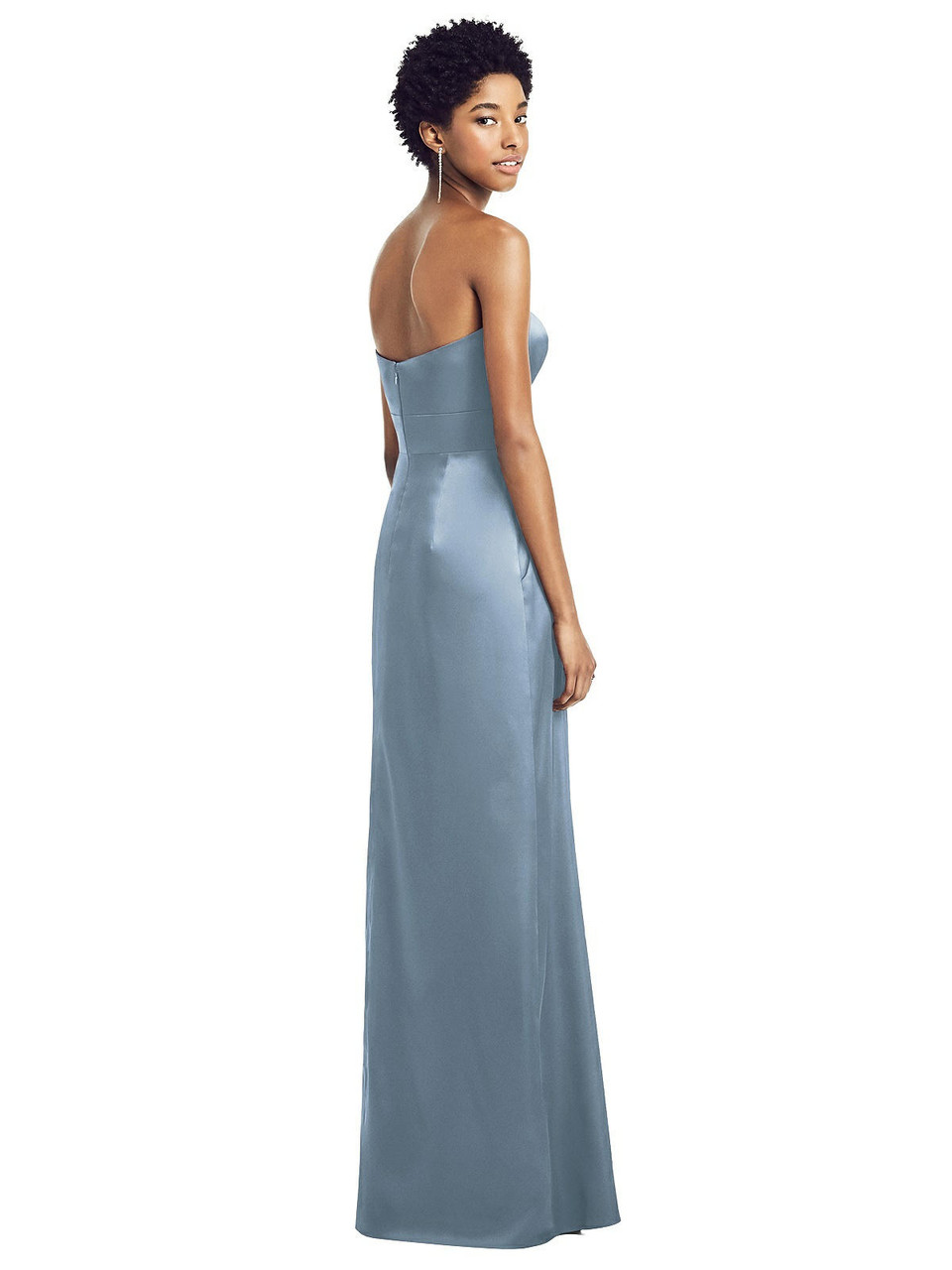 Social Style 8196     Stretch Charmeuse - Sweetheart Strapless Pleated Skirt Dress with Pockets
