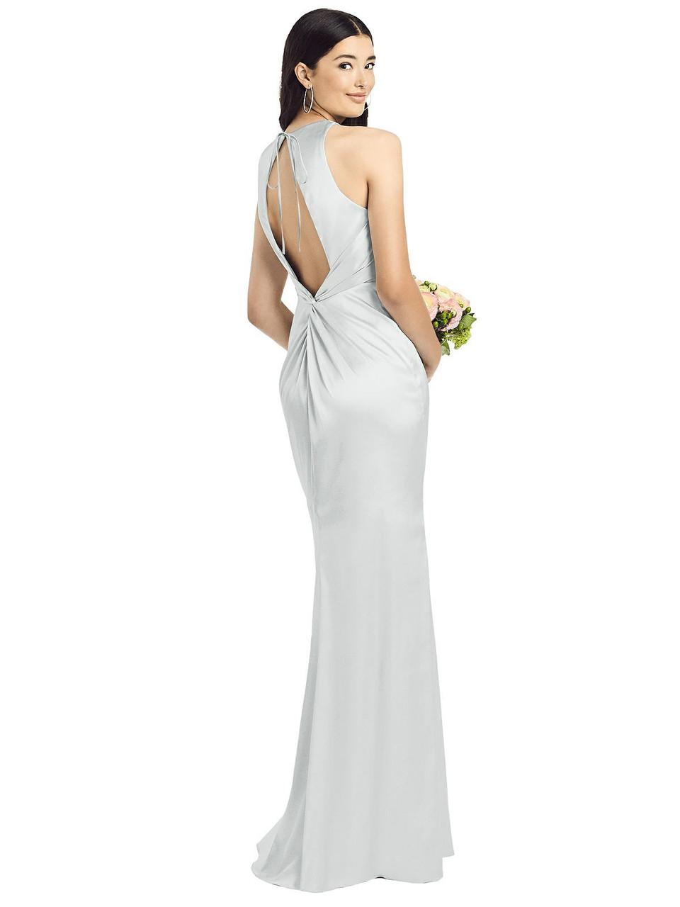 Social Style 8200  |  Stretch Charmeuse- Sleeveless Open Twist-Back Maxi Dress