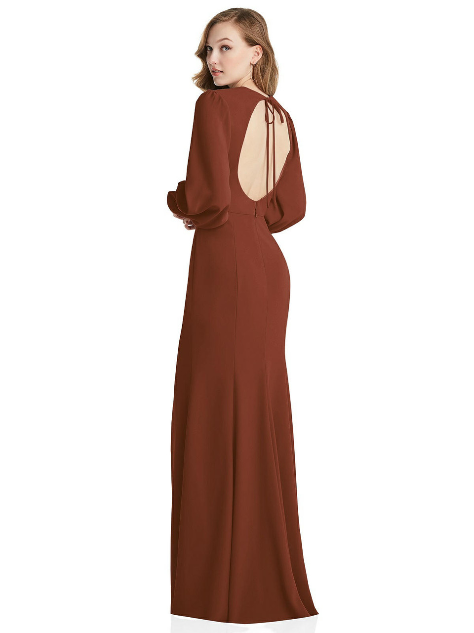 Dessy Collection Style 3089  |  Crepe - Long Puff Sleeve Maxi Dress with Cutout Tie-Back
