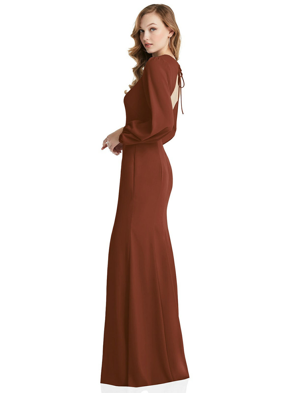 Long Puff Sleeve Maxi Dress with Cutout Tie-Back Dessy Collection Style 3089  |  Crepe
