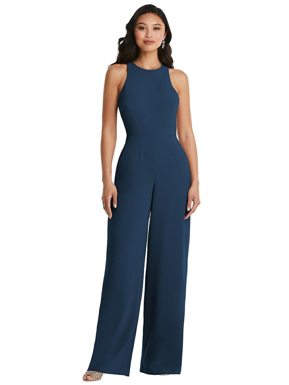Dessy Collection Style 3085  |  Crepe - Cutout Open-Back Halter Jumpsuit with Scarf Tie