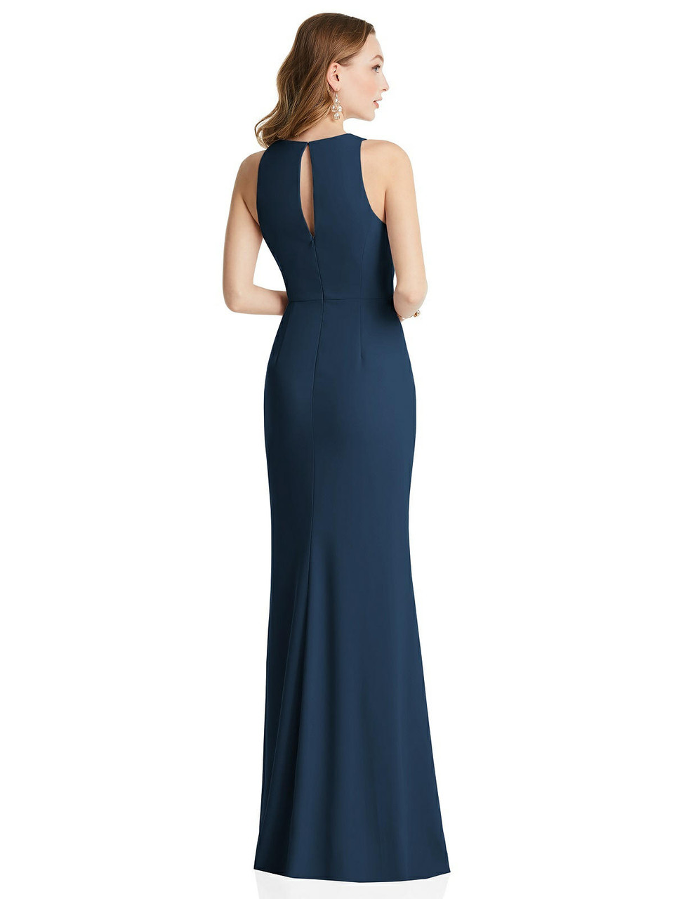 Dessy Collection Style 3081     Crepe - Halter Maxi Dress with Cascade Ruffle Slit