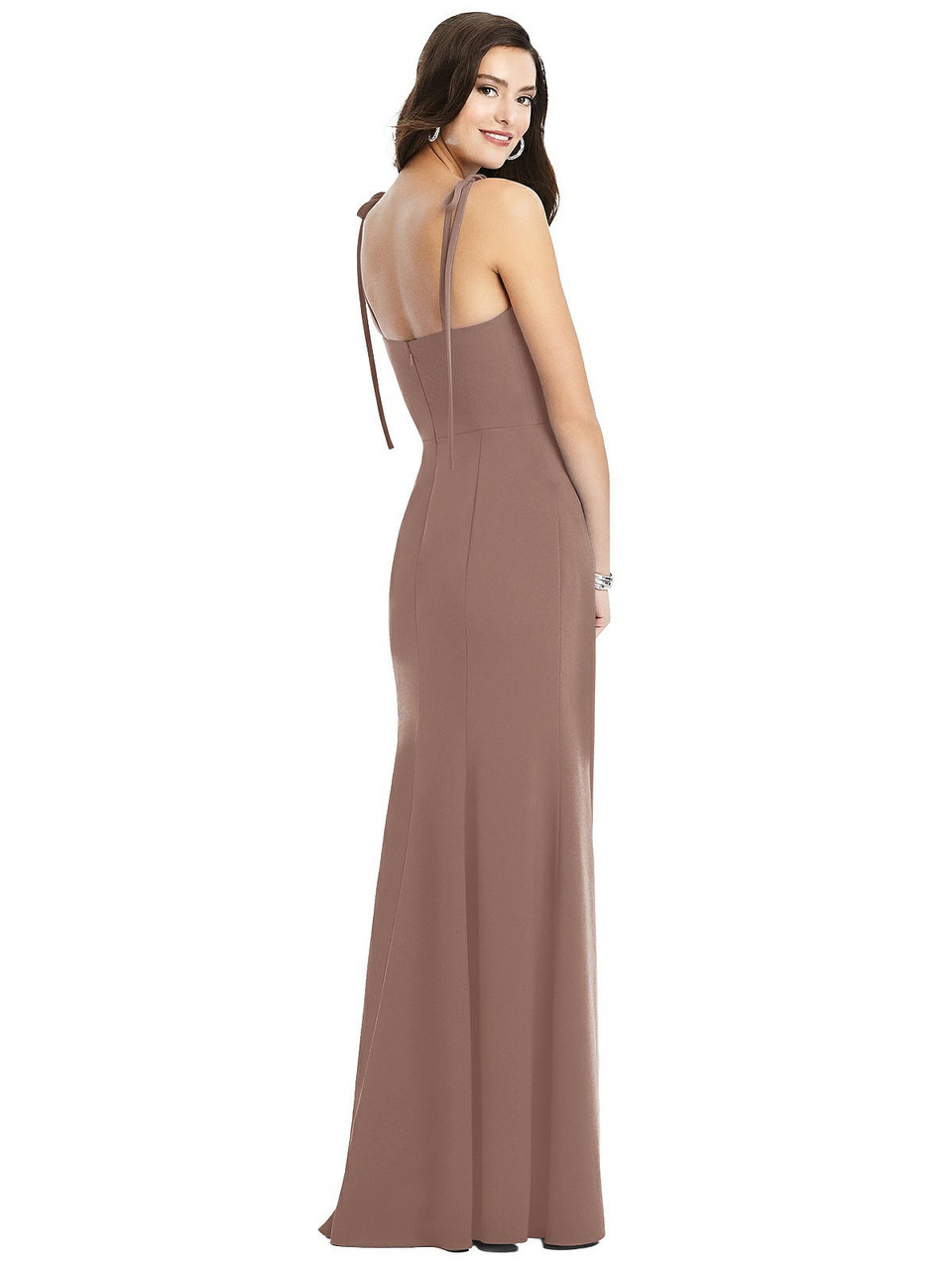 Dessy Collection Style 3070     Crepe - Bustier Crepe Gown with Adjustable Bow Straps