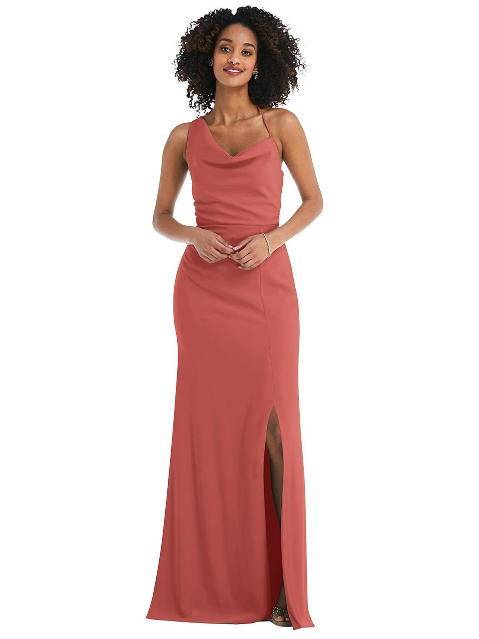 After Six Style 6849     Crepe- One-Shoulder Draped Cowl-Neck Maxi Dress